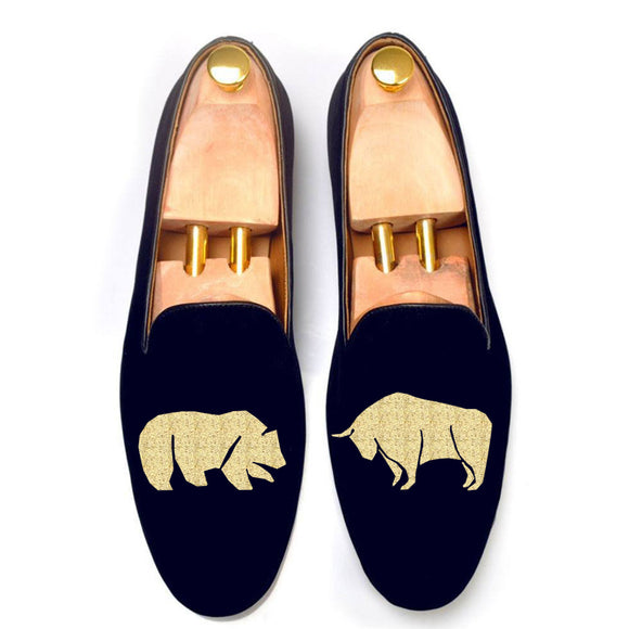 Blue Velvet Bear v/s Bull Embroidered Loafers