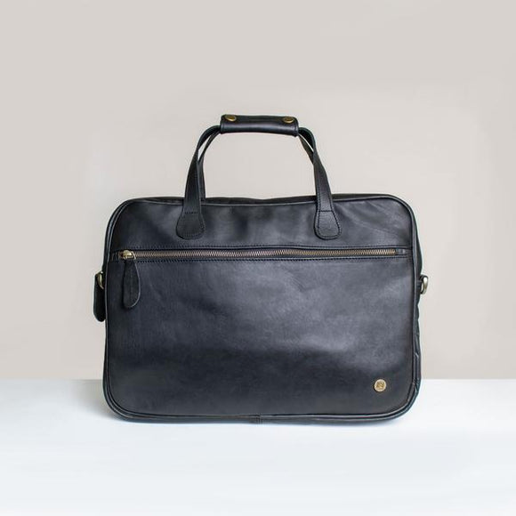 Black Leather Heysen Messenger Bag