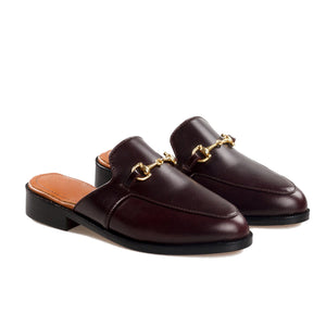 Brown Leather Loures Horsebit Slippers