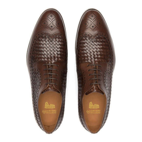 Flat Feet Shoes - Brown Leather Norwood Brogue Derby Shoes with Arch Support