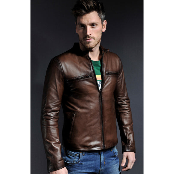 Brown Leather Kingaroy Jacket