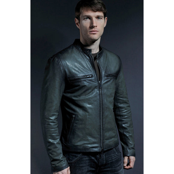 Olive Green Leather Kingaroy Jacket