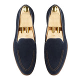 Flat Feet Shoes - Navy Blue Suede Rotenburg Loafers with Arch Support