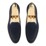 Navy Blue Suede Rotenburg Loafers