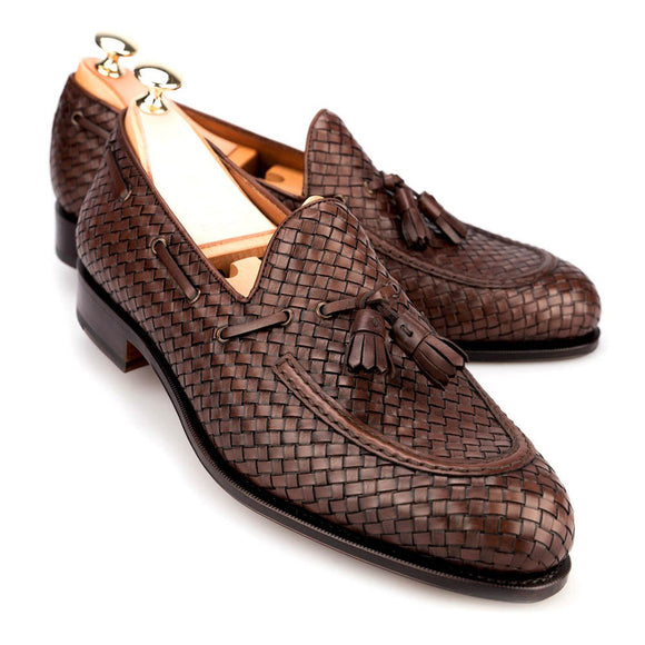 Brown Hand Woven Braided Leather Acton Tassel Loafers