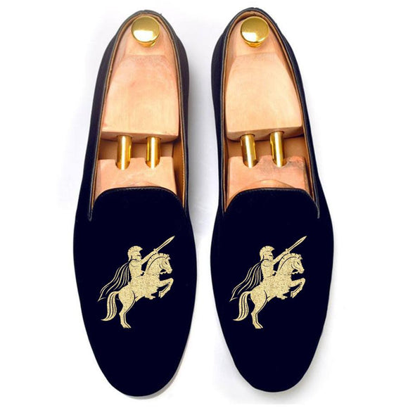 Flat Feet Shoes - Blue Velvet Cavalry Embroidered Loafers with Arch Support