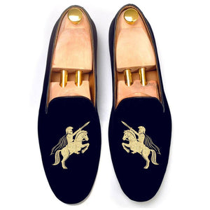 Flat Feet Shoes - Blue Velvet Cavalry Guards Embroidered Loafers with Arch Support