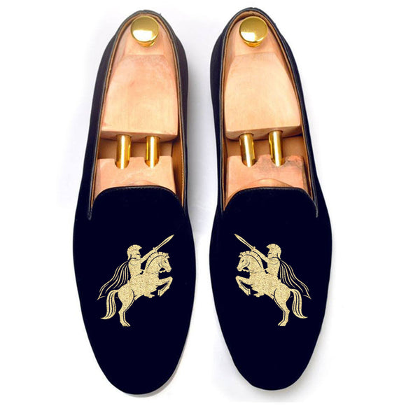 Blue Velvet Cavalry Guards Embroidered Loafers