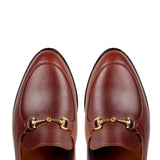 Brown Leather Penela Horsebit Collapsible Loafer Slippers