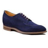 Height Increasing Navy Blue Suede Hamlet Derby Shoes