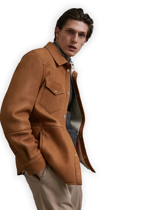 Tan Suede Nièvre Coat Jacket With Fleece Shearling Lining