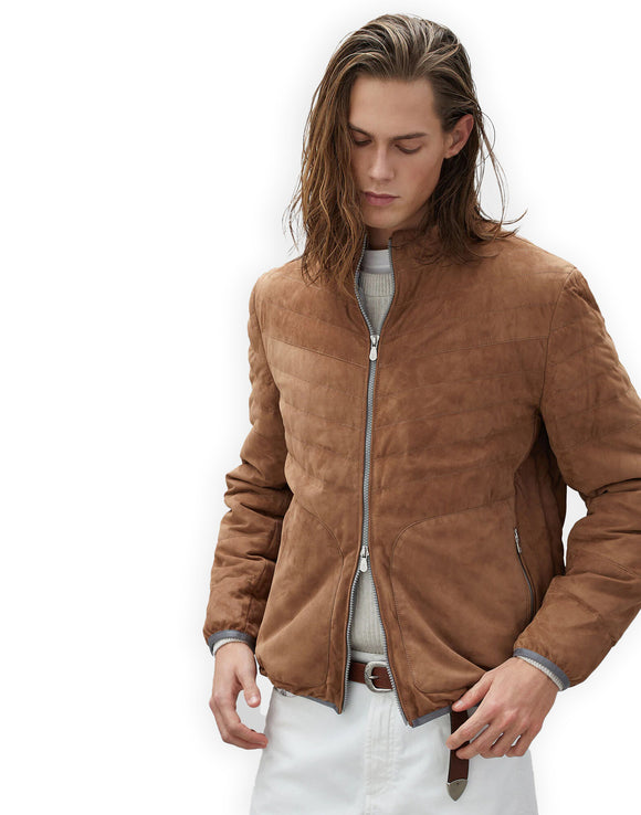 Tan Suede Moselle Bomber Jacket