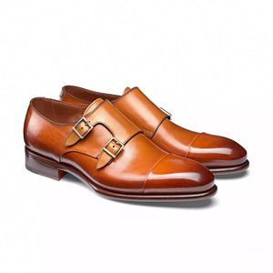 Flat Feet Shoes - Tan Leather Castle Monk Straps with Arch Support