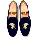 Flat Feet Shoes - Blue Velvet Dragons Embroidered Loafers with Arch Support
