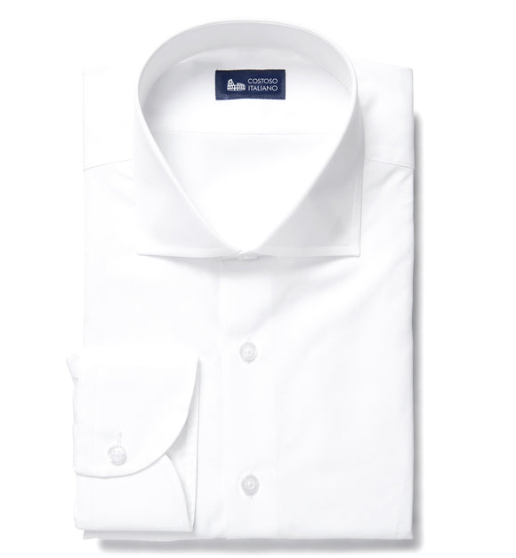 White Cotton Broadcloth Lambeth Business Shirt