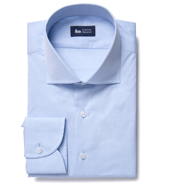 Light Blue Cotton Broadcloth Merton Business Shirt