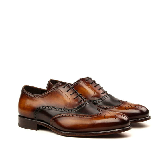 Goodyear Welted Sabrosa Black Leather Croc Print Oxford With Violin Leather Sole