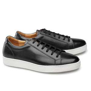 Black Leather Cornella Lace Up Sneakers