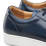 Navy Blue Leather Cornella Lace Up Sneakers