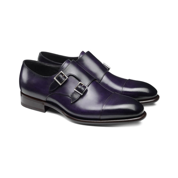 Flat Feet Shoes - Purple Leather Castle Monk Straps with Arch Support