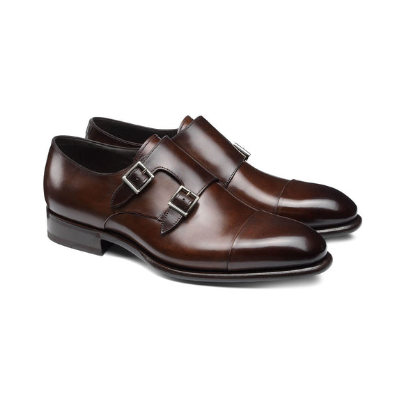 Flat Feet Shoes - Brown Leather Castle Monk Straps with Arch Support