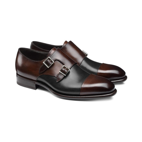 Flat Feet Shoes - Brown and Black Leather Castle Monk Straps with Arch Support