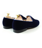 Blue Velvet Beer Embroidered Loafers