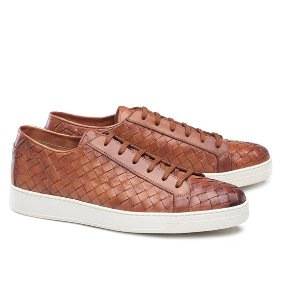 Tan Braided Leather Cornella Lace Up Sneakers