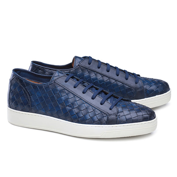 Navy Blue Braided Leather Cornella Lace Up Sneakers