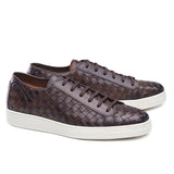 Brown Braided Leather Cornella Lace Up Sneakers