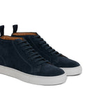Navy Blue Suede Leather Angus Sneaker Boots