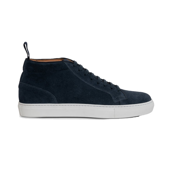 Flat Feet Shoes - Navy Blue Suede Leather Angus Sneaker Boots with Arch Support