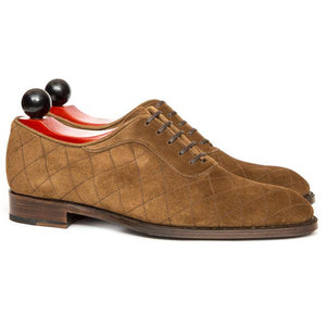 Flat Feet Shoes - Tan Suede Copnor Oxfords with Arch Support