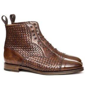 Brown Braided Leather Efford Lace Up Boots