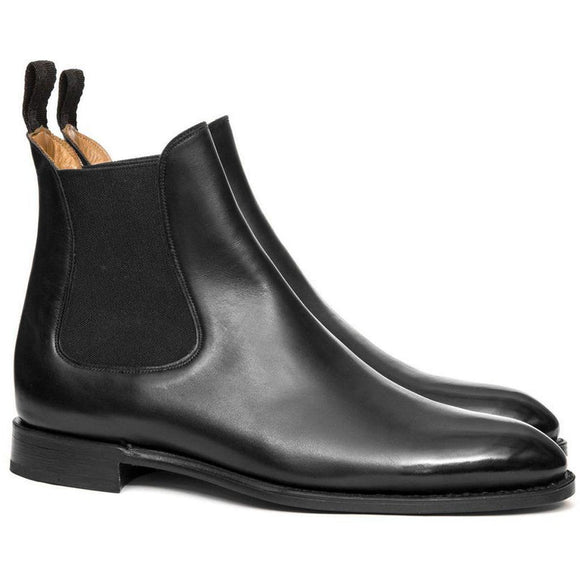 Flat Feet Shoes - Black Leather Fenland Slip On Chelsea Boots with Arch Support