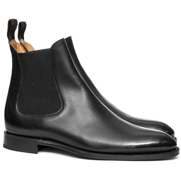 Height Increasing Black Leather Fenland Slip On Chelsea Boots