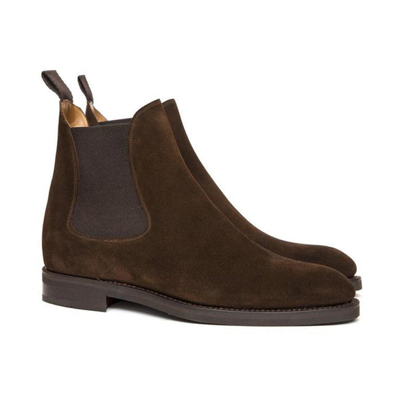 Flat Feet Shoes - Brown Suede Fenland Slip On Chelsea Boots with Arch Support