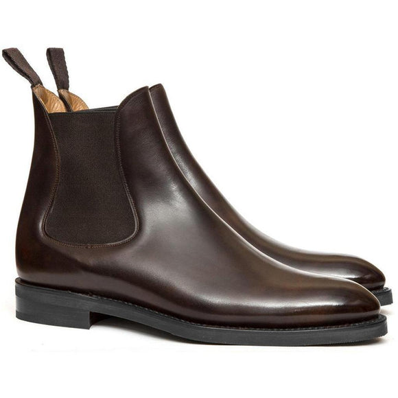Flat Feet Shoes - Brown Leather Fenland Slip On Chelsea Boots with Arch Support