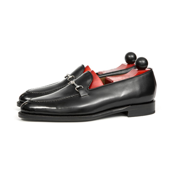Black Leather Palmela Horsebit Loafers