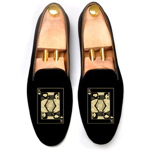 Black Velvet King of Hearts Embroidered Loafers