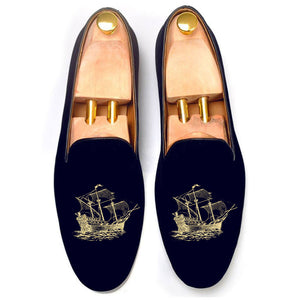 Blue Velvet Man o' War Embroidered Loafers
