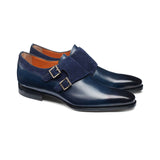Height Increasing Navy Blue Leather & Suede Castle Monk Straps