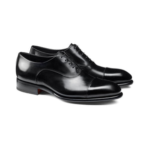 Flat Feet Shoes - Black Leather Woodford Balmoral Toe Cap Oxfords with Arch Support