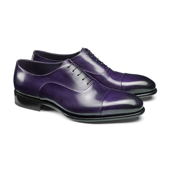 Flat Feet Shoes - Purple Leather Woodford Balmoral Toe Cap Oxfords with Arch Support