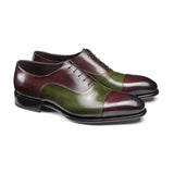 Olive Green and Wine Burgundy Leather Woodford Balmoral Toe Cap Oxfords