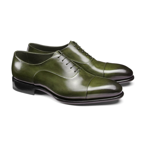 Flat Feet Shoes - Olive Green Leather Woodford Balmoral Toe Cap Oxfords with Arch Support