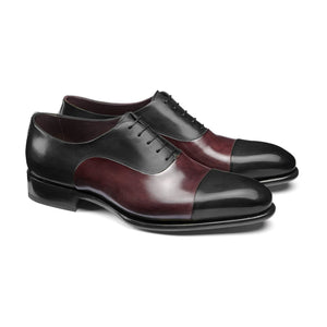 Flat Feet Shoes - Black and Wine Burgundy Brown Leather Woodford Balmoral Toe Cap Oxfords with Arch Support