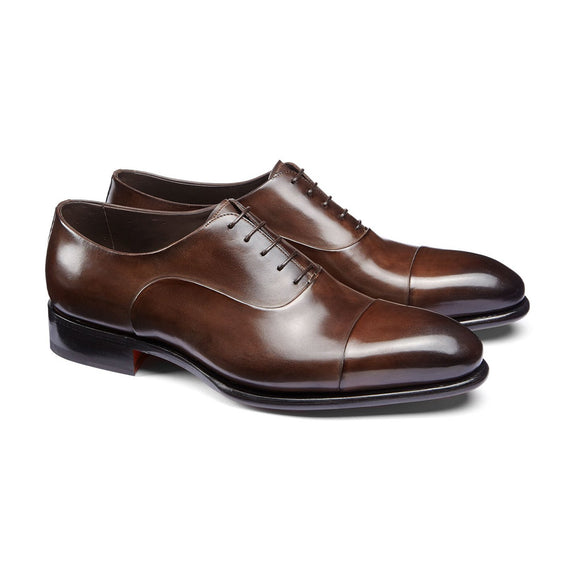 Flat Feet Shoes - Brown Leather Woodford Balmoral Toe Cap Oxfords with Arch Support