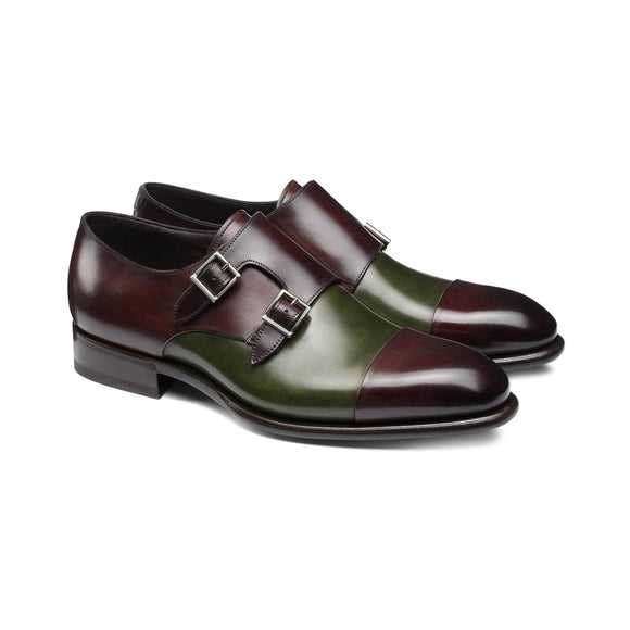 Brown and Green Leather Castle Monk Straps