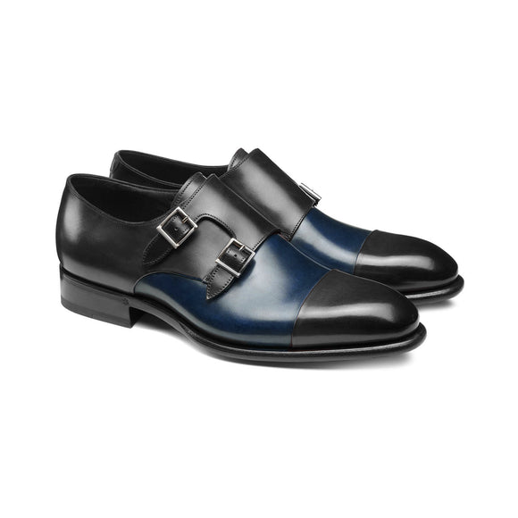 Navy Blue and Black Leather Castle Monk Straps